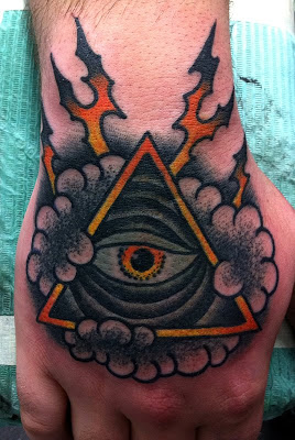 Amazing Triangle Eye And Clouds Tattoos On Hand For Men