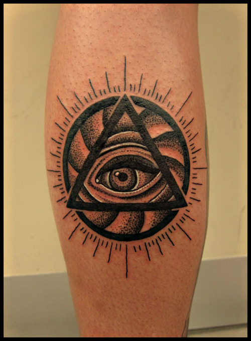 Amazing Triangle Eye And Sun Tattoos On Leg