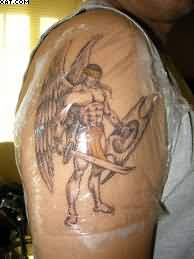 Amazing Warrior Angel Tattoo On Biceps