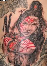Amazing Warrior Lady Tattoo