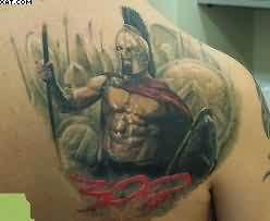 Amazing Warrior Tattoo On Right Back Shoulder