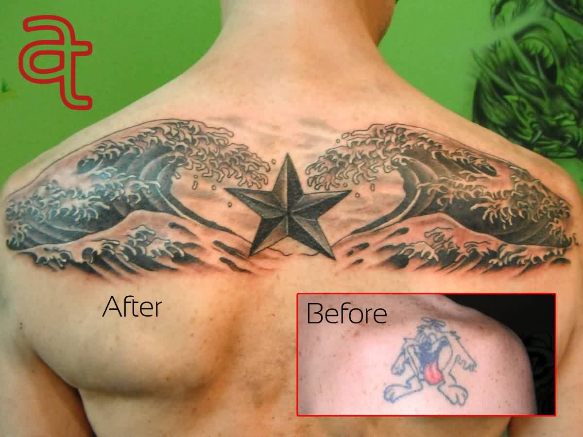Amazing Waves And Star Tattoos On Upperback