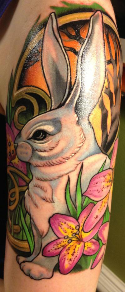 Amazing White Rabbit And Flower Tattoos On Arm