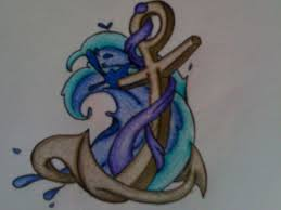 Anchor And Blue Waves Tattoo Design