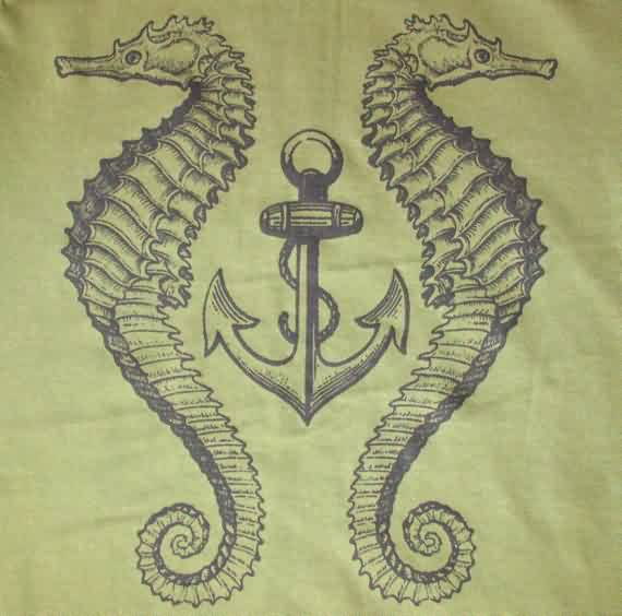 Anchor Between Seahorse Tattoos Drawing