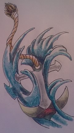 Anchor In Blue Waves Tattoo Sketch