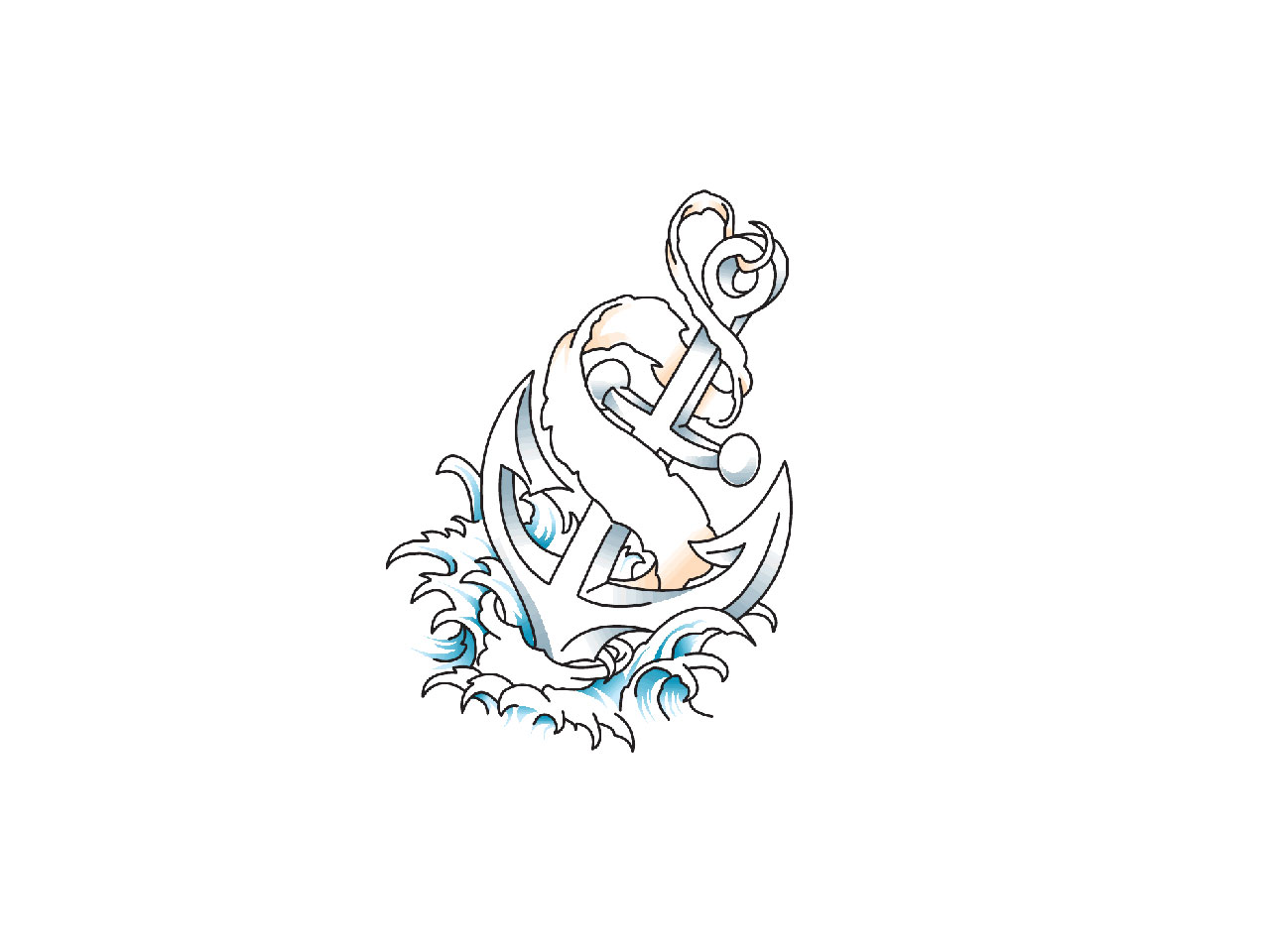 Anchor In The Waves Tattoo Idea