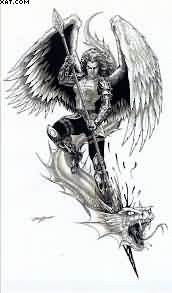 Angel Warrior Vs Dragon Tattoo Design