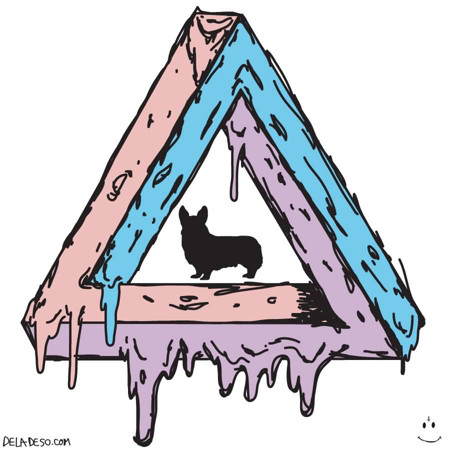Animal In Melting Triangle Tattoo Design