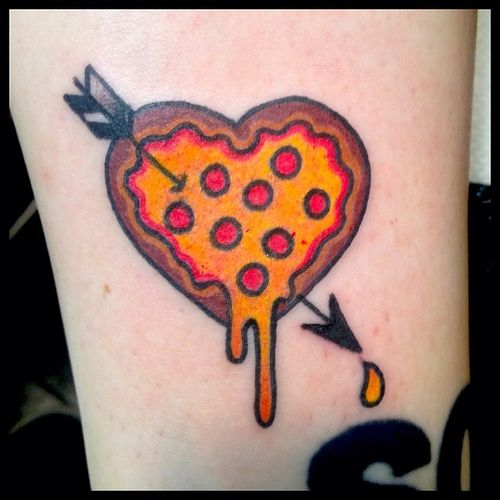 Arrow In Pizza Heart Tattoo