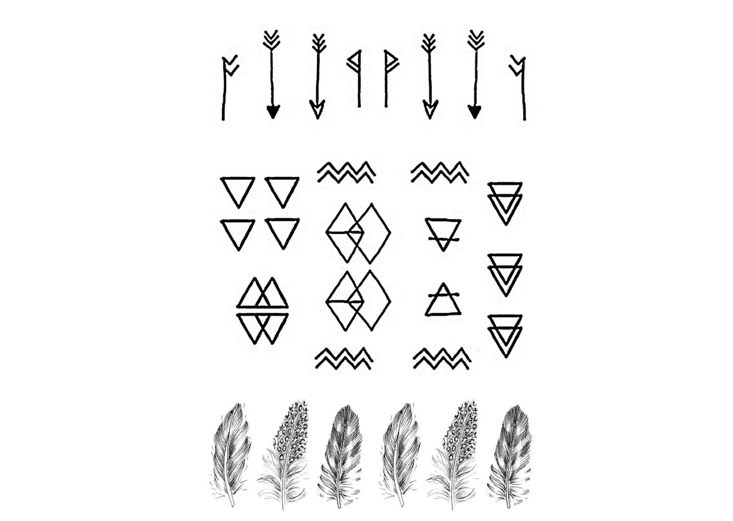 Arrows Triangles And Feather Tattoo Designs