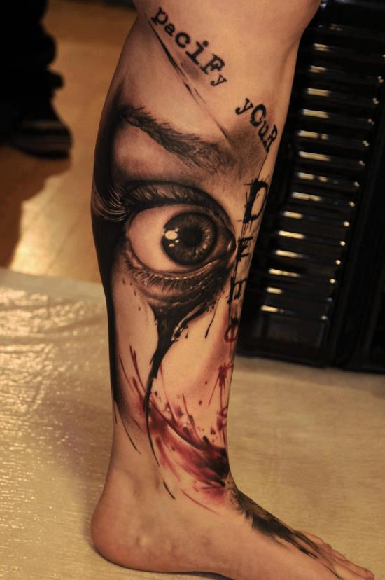 Artistic 3D Eye Tattoo On Leg