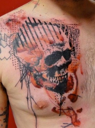 Artistic 3D Skull Tattoo On Chest