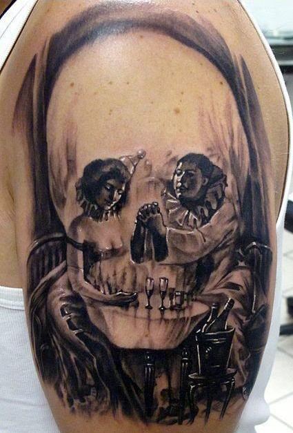 Artistic 3D Skull Tattoo On Half Sleeve