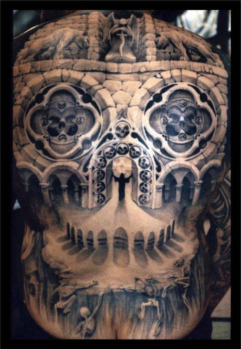 Artistic 3D Skull Tattoo On Whole Back