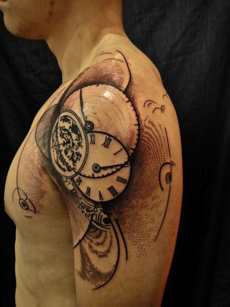 Artistic Clock Tattoo On Shoulder