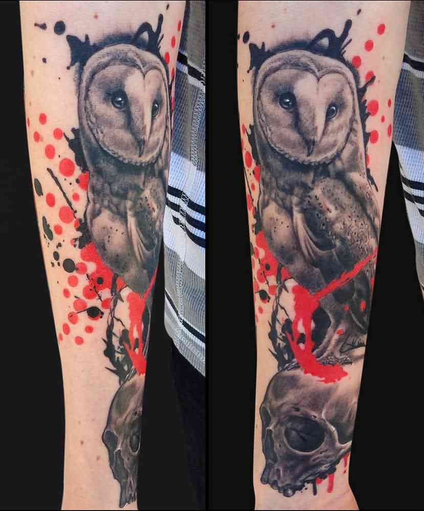 Artistic Owl On Skull Sleeve Tattoos