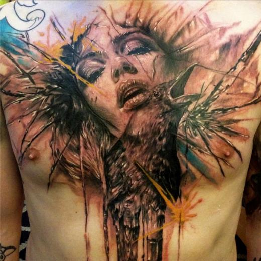 Artistic Woman And Crow Tattoos On Chest