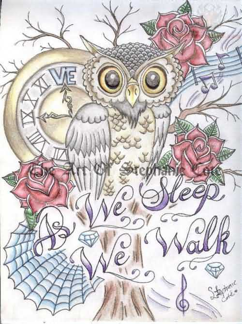 As We Sleep Owl And Rose Tattoo Designs