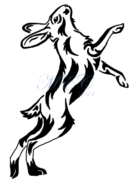Ascending Tribal Rabbit Tattoo Design