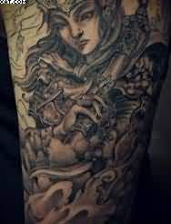 Asian Black And Grey Warrior Tattoo