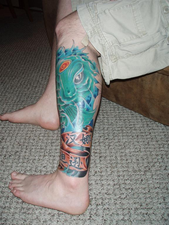 Asian Fish Waves Leg Tattoos