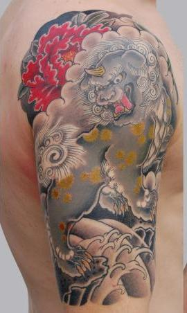Asian Foo Dog And Wave Tattoos On Half Sleeve