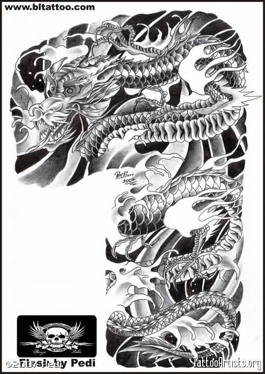 Asian Grey Dragon And Waves Sleeve Tattoo Design
