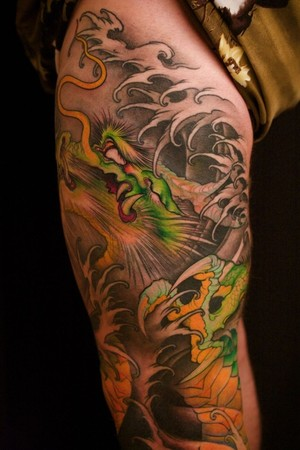 Asian Grey Waves And Dragon Tattoos