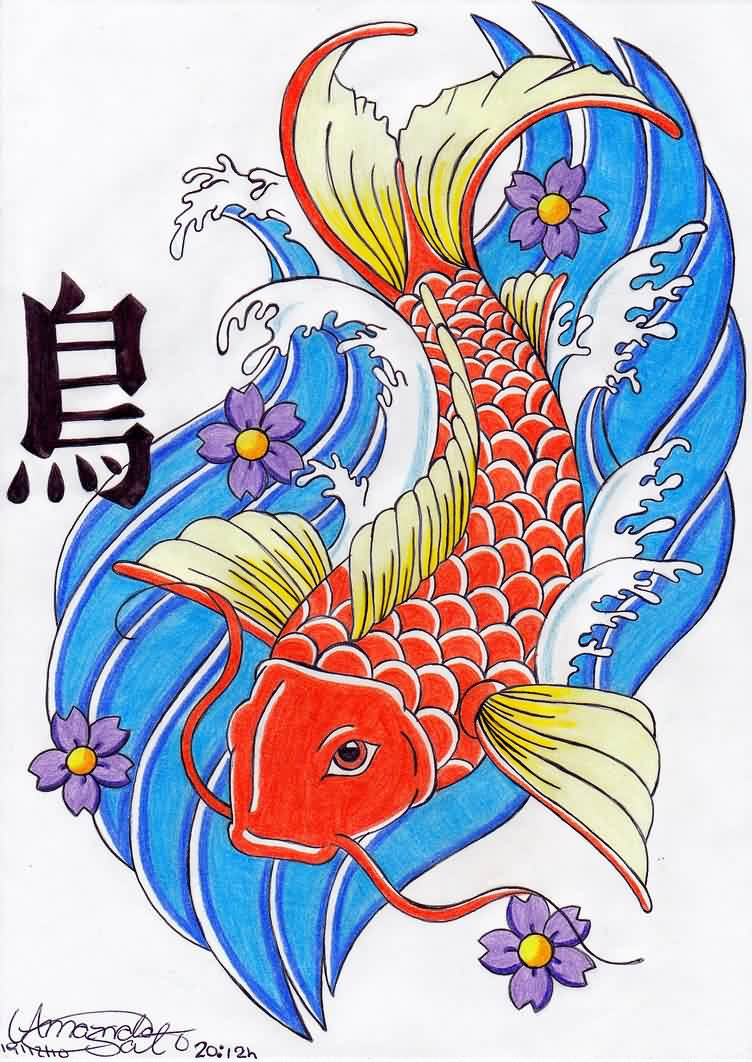 Asian Koi And Blue Waves Tattoo Design