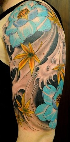 Asian Lotus And Waves Half Sleeve Tattoos