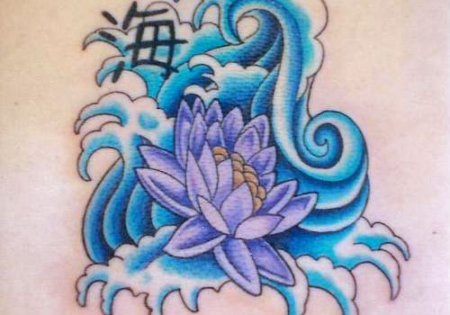 Asian Symbol Blue Waves And Lotus Tattoos