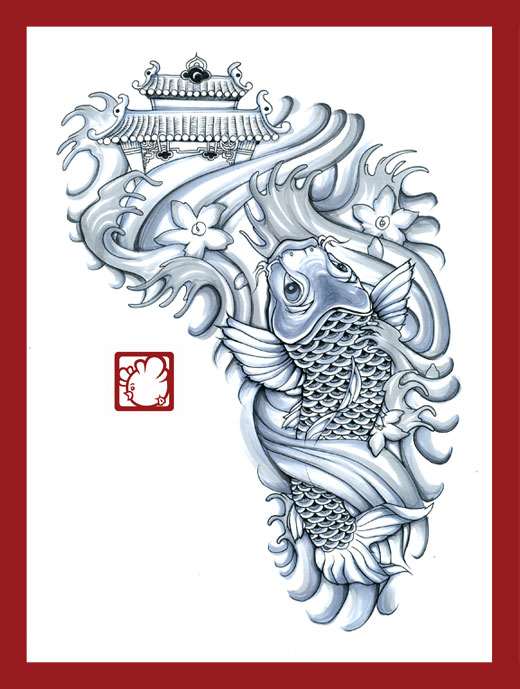 Asian Temple Waves And Koi Fish Tattoos Photo