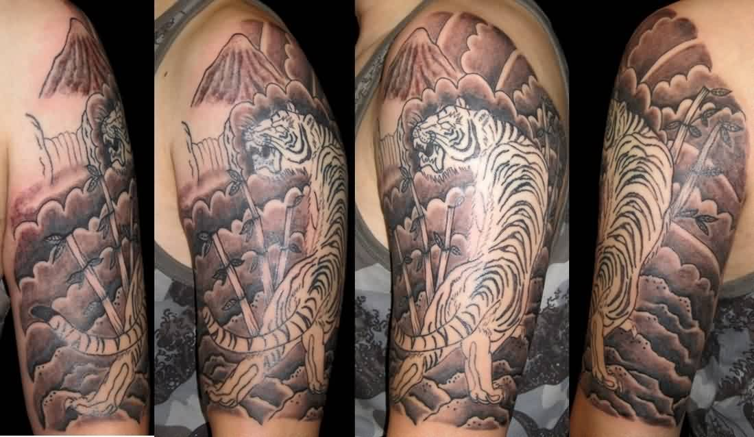 Asian Tiger And Wave Tattoos On Half Sleeve