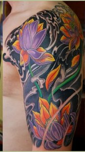 Asian Waves And Flower Tattoos On Half Sleeve (2)