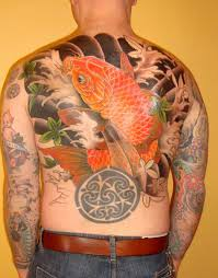 Asian Waves And Koi Fish Tattoos On Entire Back