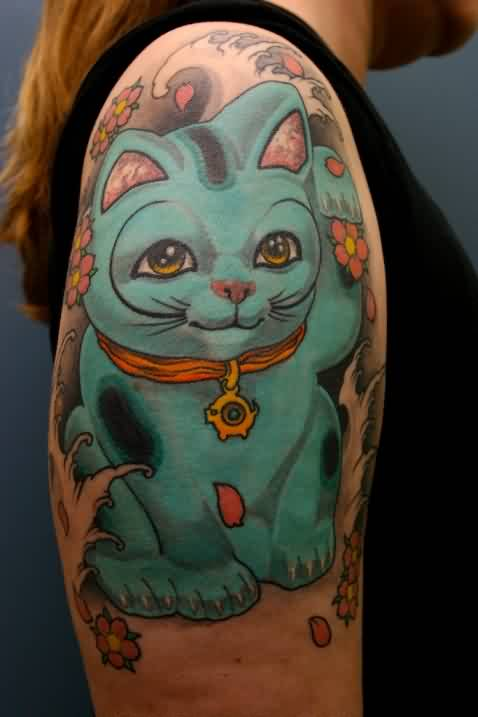 Asian Waves And Lucky Cat Tattoos On Shoulder