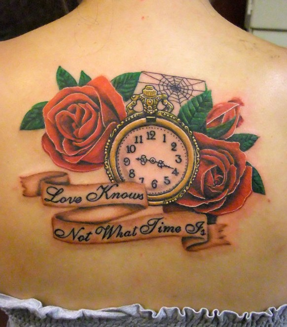 Attractive Clock Spiderweb And Rose Tattoos On Upperback