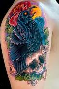 Attractive Crow Skull Tattoo On Shoulder