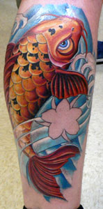 Attractive Koi And Blue Wave Tattoos On Leg