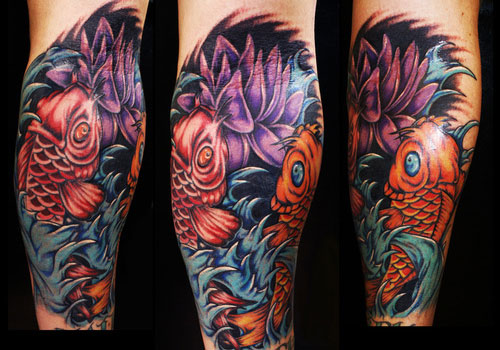 Attractive Lotus Fish And Wave Tattoos