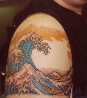 Awesome Asian Waves Tattoos On Right Shoulder