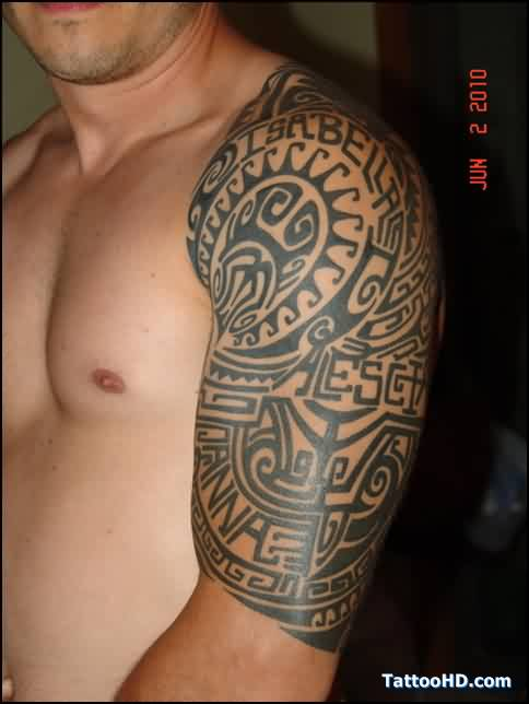 Awesome Black Ink Tribal Polynesian Tattoos On Half Sleeve