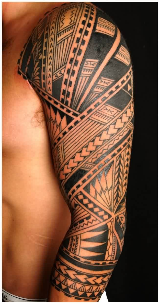 Awesome Black Polynesian Tattoos On Sleeve