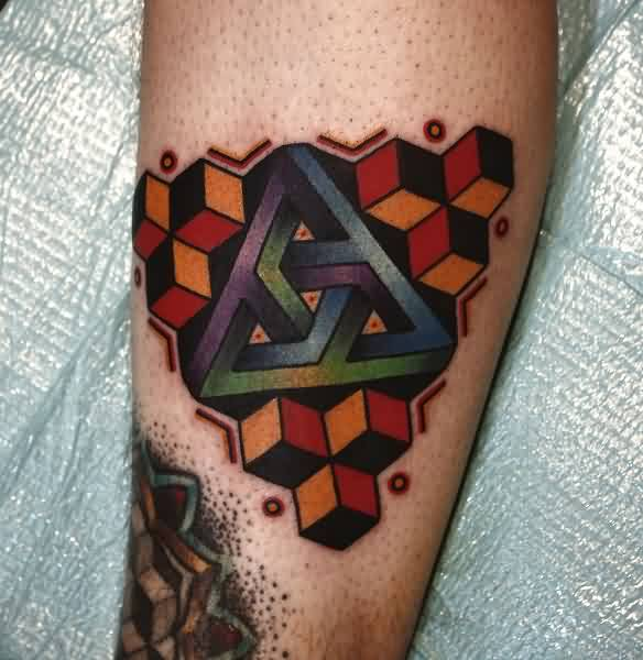 Awesome Colorful Penrose Triangle Tattoo