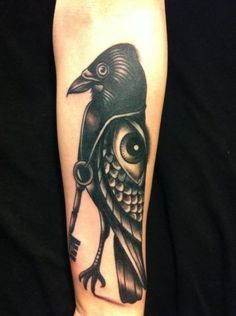 Awesome Eye Crow With Eye Tattoo On Arm