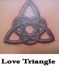 Awesome Grey Ink Stone Love Triangle Tattoo