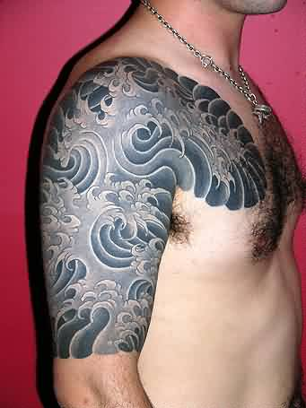 Awesome Grey Japanese Wave Tattoo On Half Sleeve And Chest