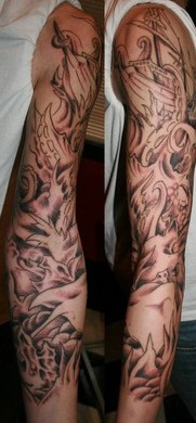 Awesome Grey Ship And Wave Tattoos For Sleeve