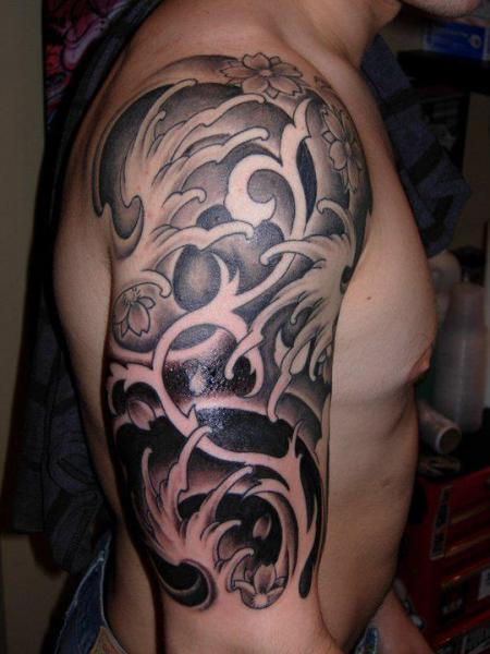 Awesome Japanese Waves Tattoos On Half Sleeve